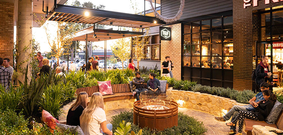 Fire pit seating in the Entertainment & Lifestyle Precinct